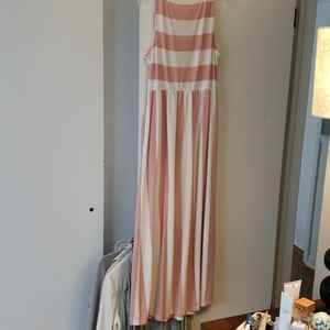 Pink and white striped boutique dress